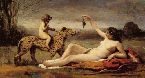 Jean Baptiste Camille Corot, Bacchante with a Panther, 1860, oil on canvas, Shelburne Museum, Vermont